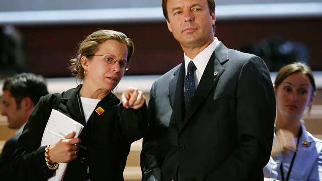 PHOTO: Democratic vice presidential candidate Senator John Edwards (D-NC) and his speechwriter Wendy Button are at the Democratic Convention site July 27, 2004 in Boston, Massachusetts.