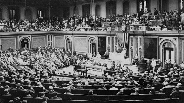 PHOTO: President Woodrow Wilson addresses a message of war against Germany to the representatives and senators in the House of Representatives, on April 2, 1917.