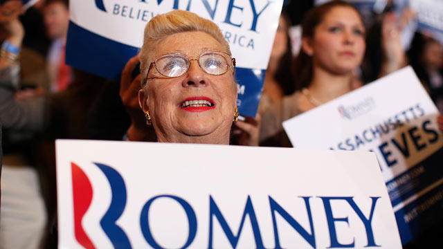 PHOTO: Supporters of Republican presidential candidate, former Massachusetts Gov., Mitt Romney celebrate during a Super Tuesday night gathering on March 6, 2012 in Boston, Massachusetts.
