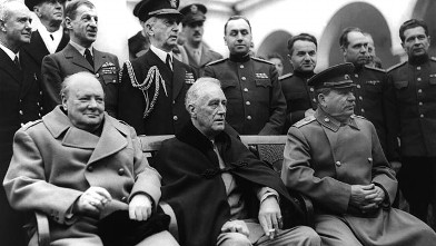 PHOTO: Prime Minister Winston Churchill, President Franklin D. Roosevelt, and Marshal Joseph Stalin sit at the palace in Yalta, where the three met in Yalta, Ukraine, Feb. 4-11, 1945.