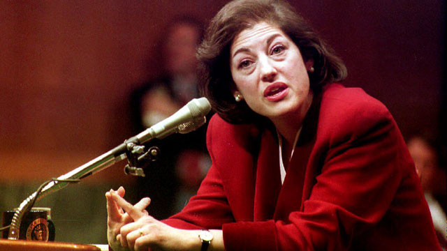 PHOTO: Zoe Baird, President Bill Clinton's choice to head the Justice Department as attorney general, continues her testimony Jan. 21, 1993 before the Senate Judiciary Committee in Washington, DC..