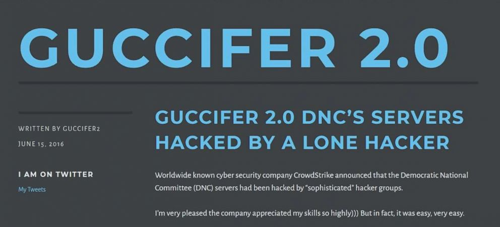 "A screenshot from the website of ""Guccifer 2.0,"" which Special Counsel Robert Mueller and the U.S. intelligence community has accused of being a fake personal created and maintained by Russian intelligence services."