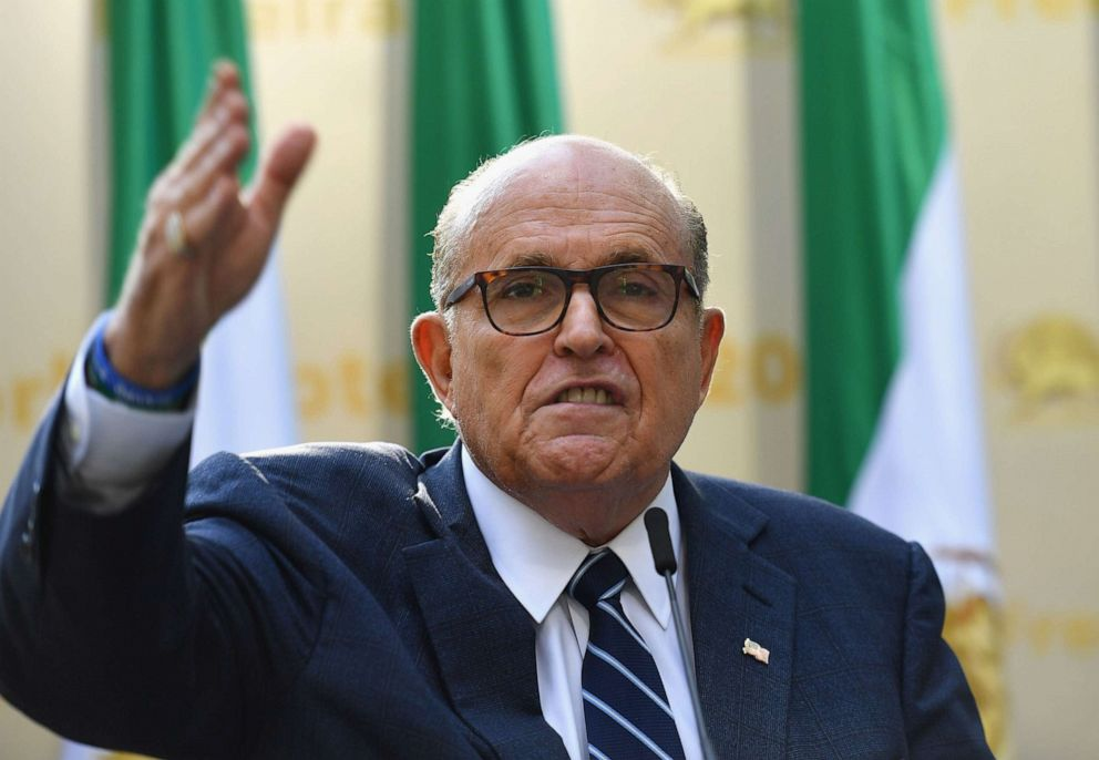 PHOTO: Rudy Giuliani, Former Mayor of New York City speaks to the Organization of Iranian American Communities during a march outside the United Nations Headquarters in New York on Sept. 24, 2019.