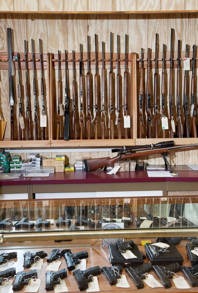 PHOTO: Weapons displayed in gun shop in this undated stock photo.