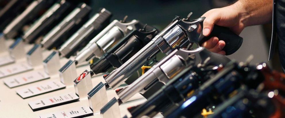 PHOTO: Jan. 19,2016 file photo of handguns displayed at a trade show in Las Vegas.