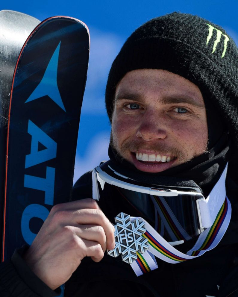 PHOTO: Silver medal winner freestyler Gus Kenworthy celebrates on the podium of the mens SlopeStyle at the FIS Snowboard and Freestyle Ski World Championships 2017 in Sierra Nevada on March 19, 2017.