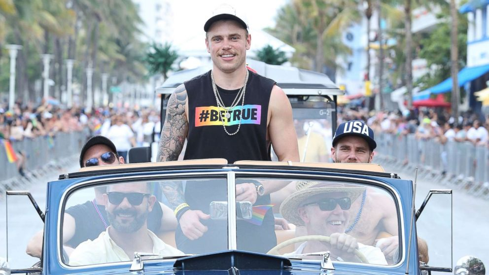 Olympian Gus Kenworthy participates as Grand Marshal of the 10th Annual Miami Beach Gay Pride celebration on South Beach on April 08, 2018 in Miami.