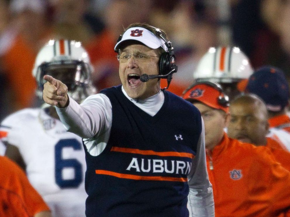 PHOTO: Auburn coach Gus Malzahn yells instructions to his offense in the first half against Florida State in the BCS Championship game at the Rose Bowl on Jan. 6, 2014 in Pasadena, Calif.