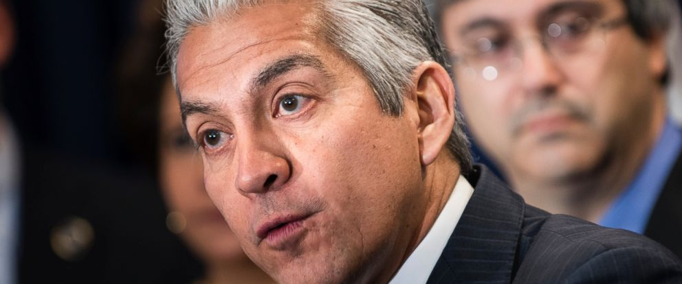 PHOTO: Javier Palomarez, president and chief executive officer of the US Hispanic Chamber of Commerce, speaks during a press conference at the National Press Club March 27, 2013 in Washington, DC.