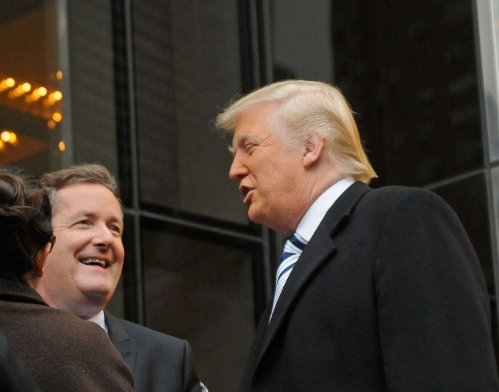 Donald Trump and Piers Morgan filming on location for 'The Celebrity Apprentice All Stars' on October 26, 2012 in New York City.