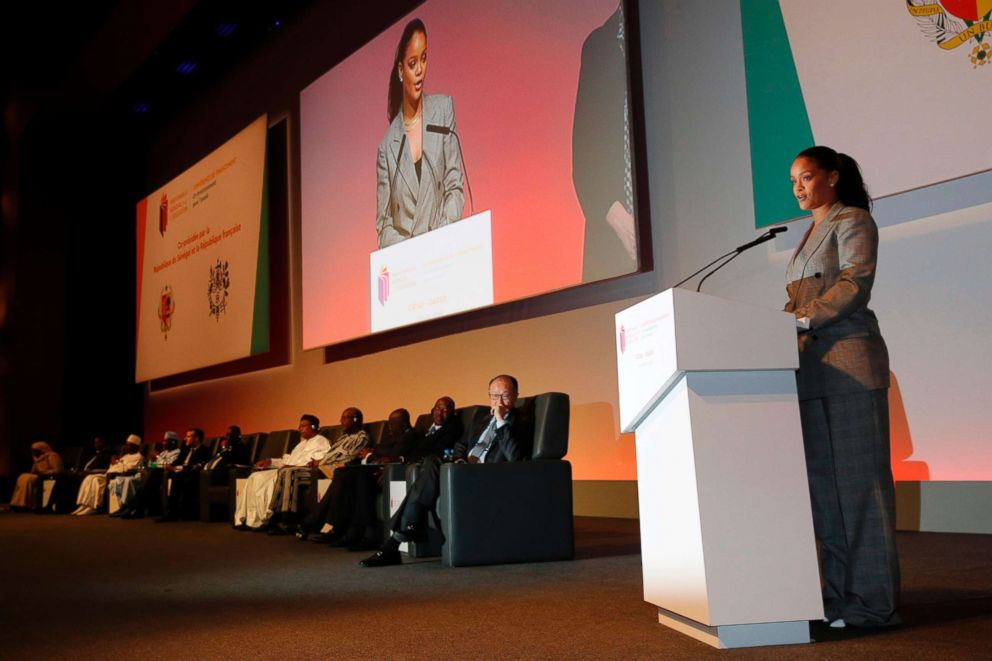 PHOTO: Barbadian singer Rihanna addresses the conference GPE Financing Conference, an Investment in the Future organised by the Global Partnership for Education in Dakar on February 2, 2018.