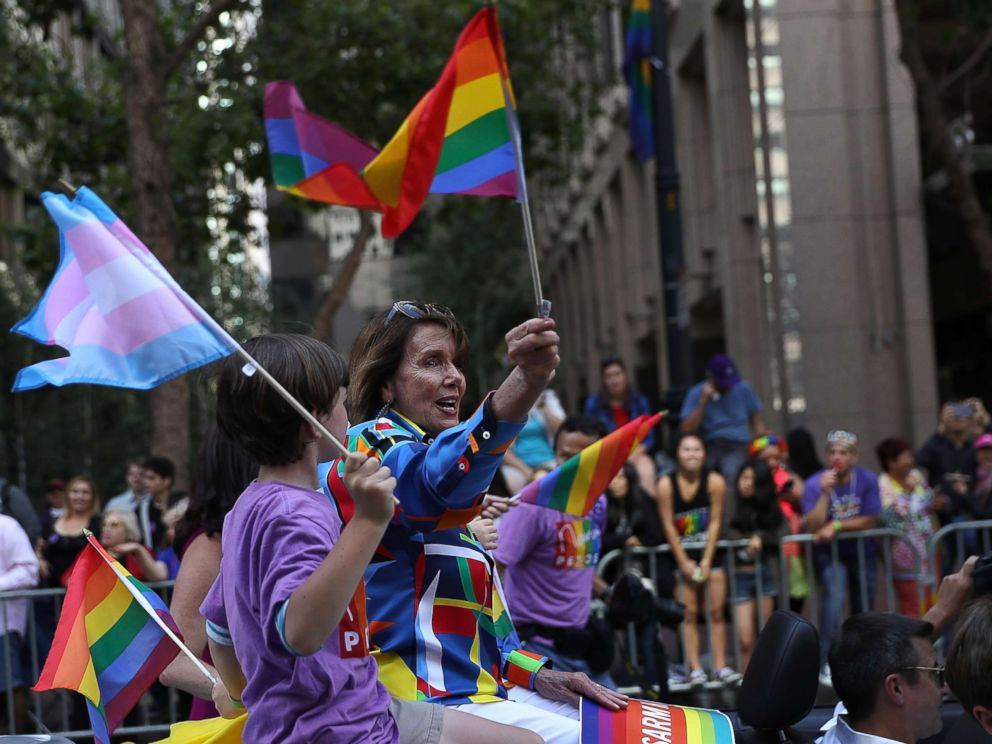 PHOTO: U.S. Rep Nancy Pelosi (D-CA) waves a pride flag during the 2016 San Francisco Pride Parade on June 26, 2016 in San Francisco, California. Hundreds of thousands of people came out to watch the annual San Francisco Pride parade.