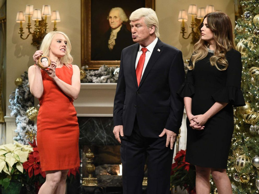 PHOTO: SATURDAY NIGHT LIVE -- Episode 1734 -- Pictured: (l-r) Kate McKinnon as Counselor to the President Kellyanne Conway, Alec Baldwin as President Donald J. Trump, Cecily Strong as First Lady Melania Trump on Saturday, December 16, 2017