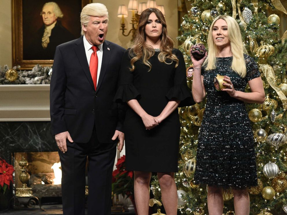 PHOTO: SATURDAY NIGHT LIVE -- Episode 1734 -- Pictured: (l-r) Alec Baldwin as President Donald J. Trump, Cecily Strong as First Lady Melania Trump, Scarlett Johansson as Ivanka Trump on Dec. 16, 2017.