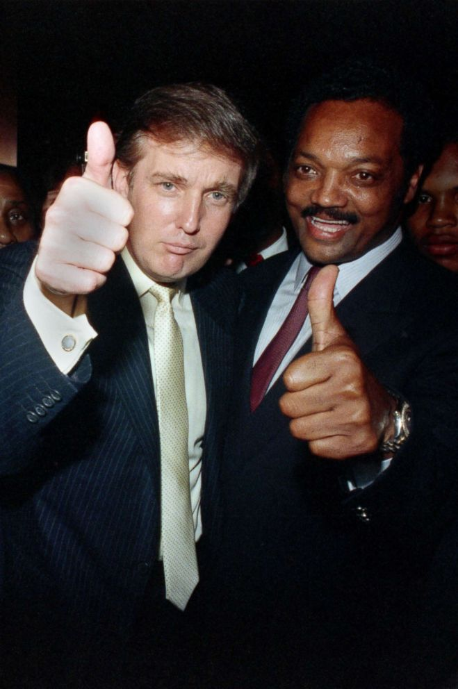 PHOTO: Donald Trump joins Jesse Jackson at a party at Trump Plaza before the Tyson-Spinks title fight in 1988.