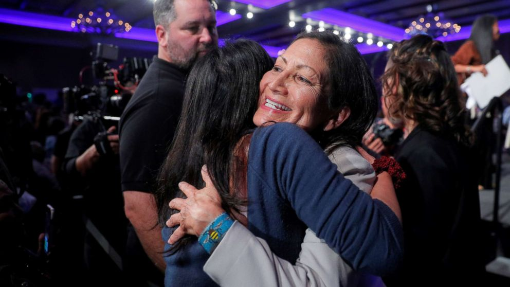 Democratic Congressional candidate Deb Haaland hugs a supporter after winning her midterm election in Albuquerque, New Mexico, Nov. 6, 2018.