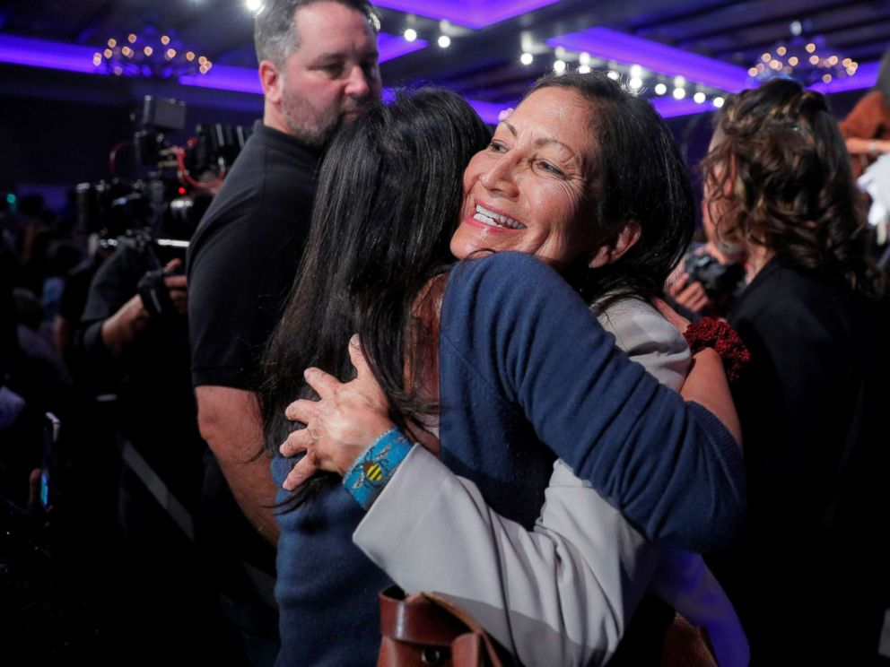 PHOTO: Democratic Congressional candidate Deb Haaland hugs a supporter after winning her midterm election in Albuquerque, New Mexico, Nov. 6, 2018.