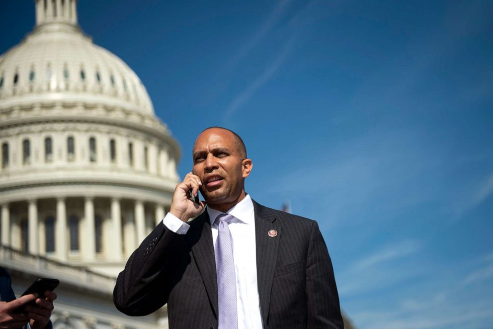 PHOTO: Democratic Caucus Chair Hakeem Jeffries, D-N.Y., talks on the phone after the last votes of the week on Capitol Hill, Sept. 27, 2019.