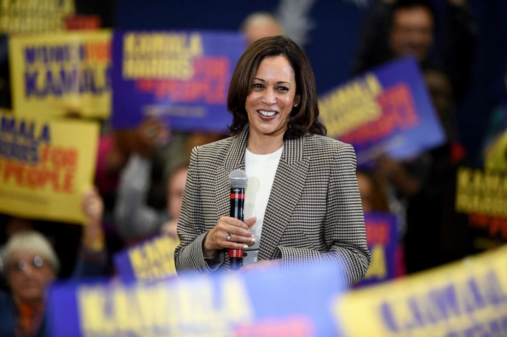 PHOTO: Democratic Candidate for President Kamala Harris Speaks During A Rally at Aiken High School in Aiken, SC Saturday, October 19, 2019.