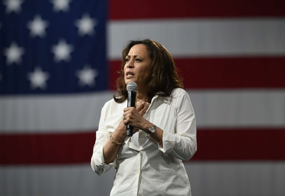 PHOTO: Democratic presidential candidate Sen. Kamala Harris speaks on stage during a forum on gun safety at the Iowa Events Center on August 10, 2019 in Des Moines, Iowa.