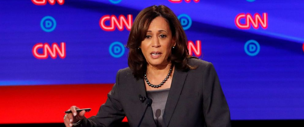 PHOTO: Sen. Kamala Harris participates in the second of two Democratic presidential primary debates hosted by CNN Wednesday, July 31, 2019, in the Fox Theatre in Detroit.