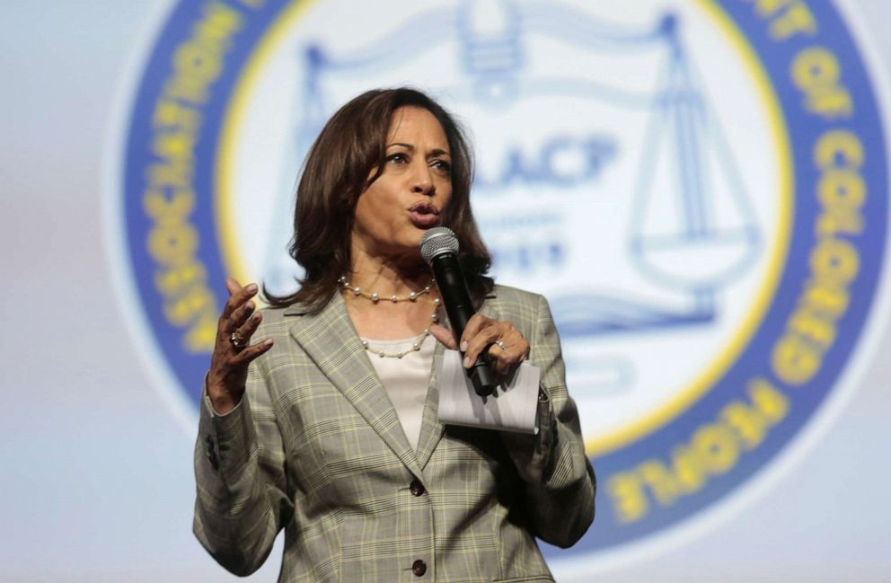 PHOTO: Democratic U.S. Presidential candidate Senator Kamala Harris addresses the audience during the Presidential candidate forum at the annual convention of the National Association for the Advancement of Colored People (NAACP).