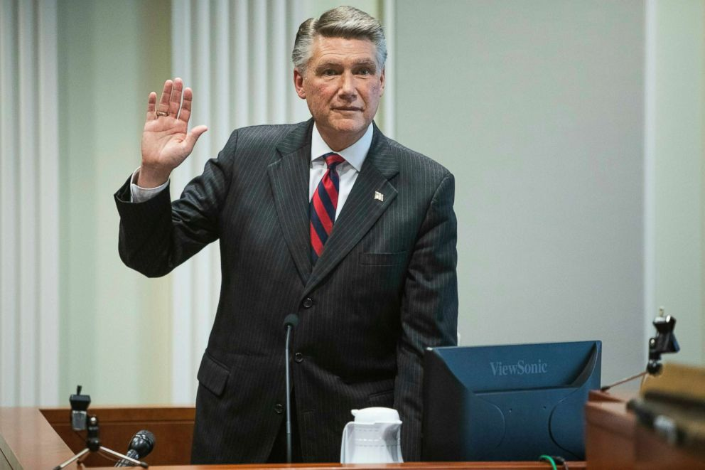 PHOTO: Mark Harris, Republican candidate in North Carolinas 9th Congressional race, prepares to testify during a hearing on voting irregularities investigation, Feb. 21, 2019, at the North Carolina State Bar in Raleigh, N.C.