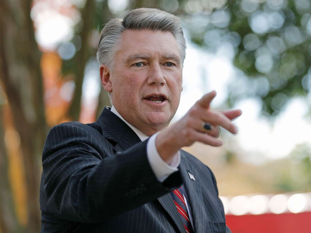 PHOTO: Mark Harris speaks to the media during a news conference in Matthews, N.C., Nov. 7, 2018.