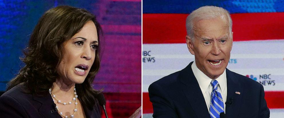 PHOTO: Kamala Harris, left, and Joe Biden participate in the second night of the first democratic debate in Miami, June 17, 2019.