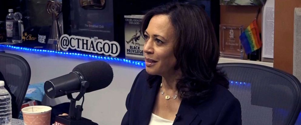 "PHOTO: Democratic presidential candidate, Sen. Kamala Harris, makes an appearance on ""The Breakfast Club"" radio show in New York, July 12, 2019."