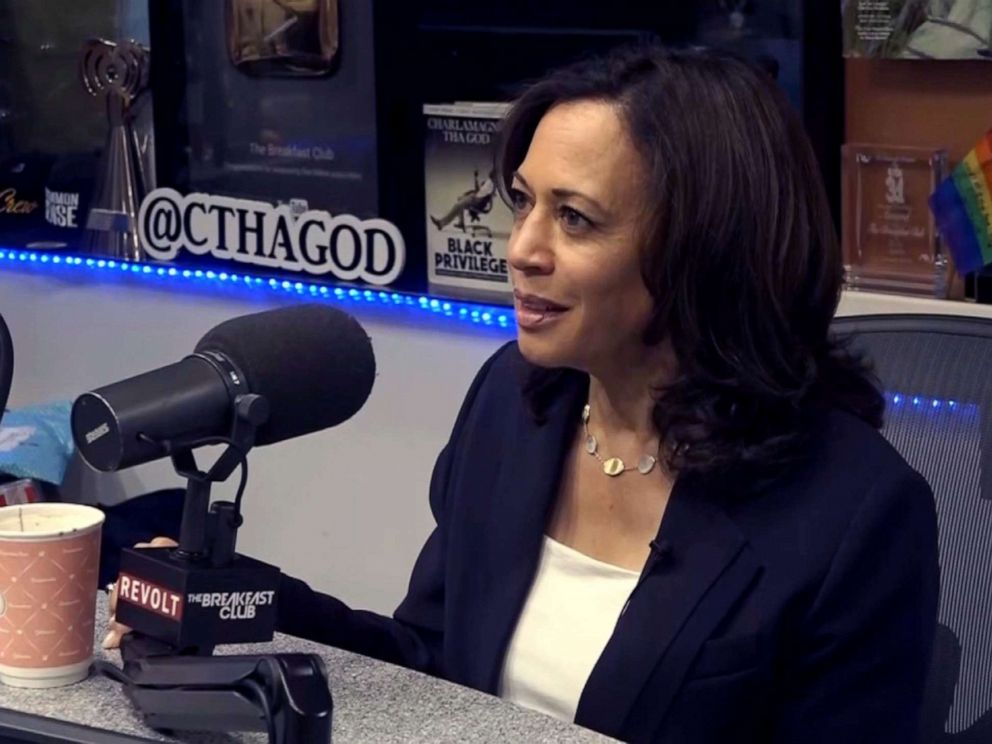 PHOTO: Democratic presidential candidate, Sen. Kamala Harris, makes an appearance on The Breakfast Club radio show in New York, July 12, 2019.