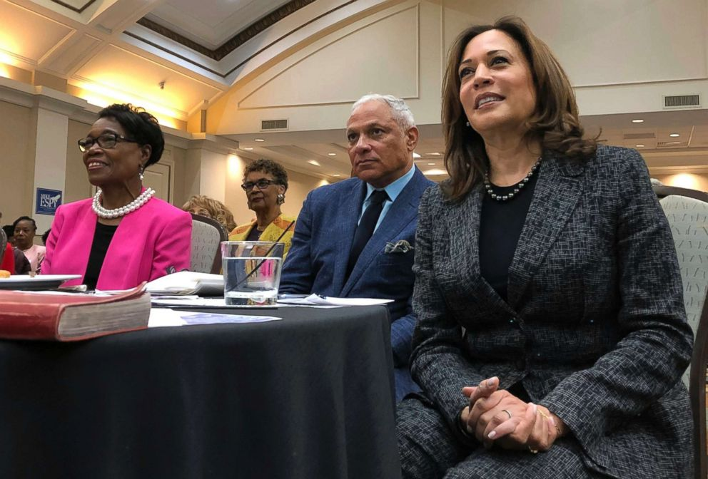 Sen. Kamala Harris, a California Democrat and possible 2020 presidential candidate, listens along with Mississippi Democratic Senate candidate Mike Espy during an event, Nov. 17, 2018 in Jackson, Miss.