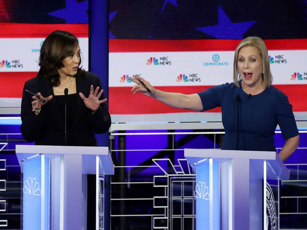 PHOTO: Kamala Harris and Kristen Gillibrand participate in the second night of the first 2020 democratic presidential debate at the Adrienne Arsht Center for the Performing Arts in Miami, June 27, 2019.