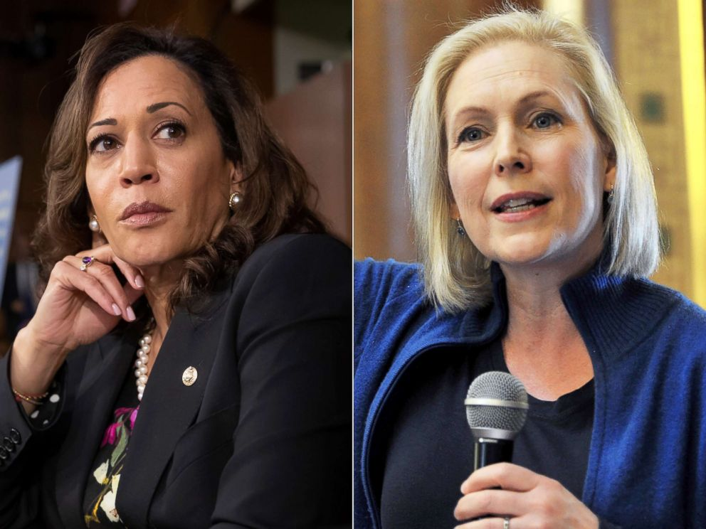 PHOTO: From left: Sen. Kamala Harris speaks on Capitol Hill in Washington, D.C., Sept. 4, 2018.|Sen. Kirsten Gillibrand speaks on Jan. 19, 2019, in Des Moines, Iowa.
