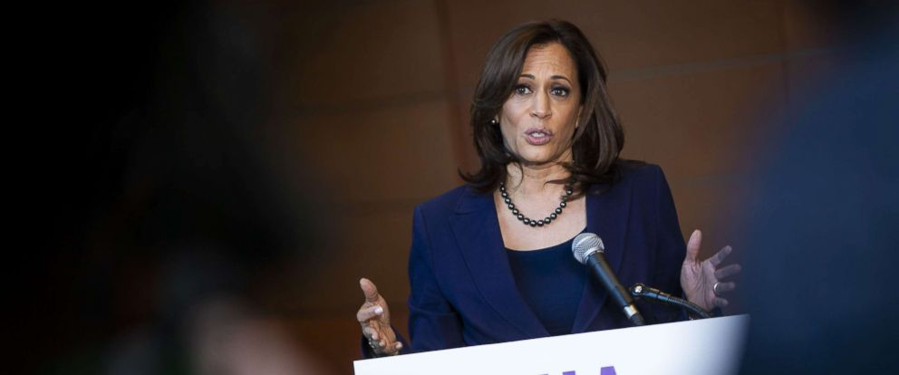 PHOTO: Sen. Kamala Harris (D-CA) speaks to reporters after announcing her candidacy for President of the United States, at Howard University, her alma matter, Jan. 21, 2019 in Washington, D.C.