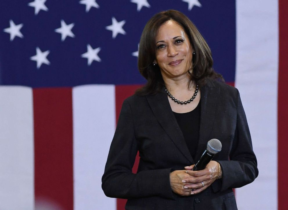 PHOTO: Sen. Kamala Harris (D-CA) takes a question during a town hall meeting at Canyon Springs High School, March 1, 2019, in Las Vegas.