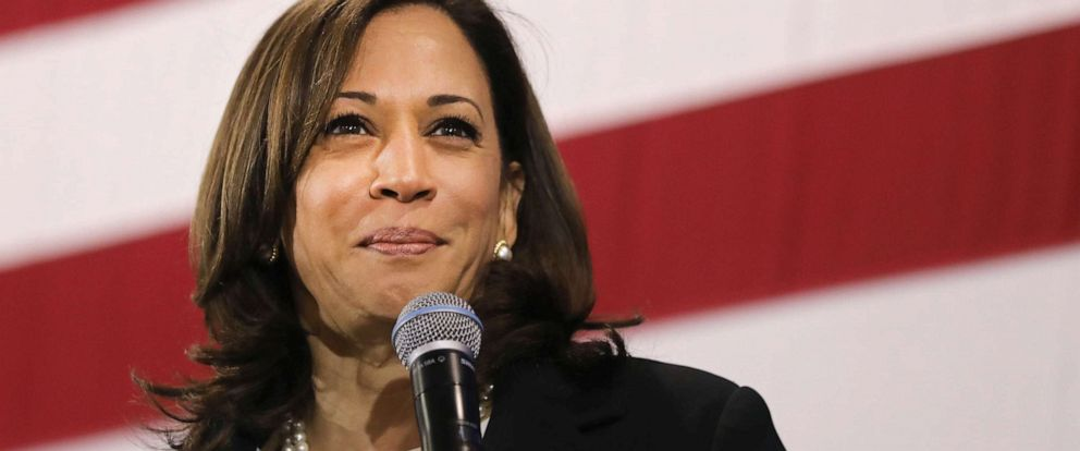 PHOTO: Democratic presidential candidate Sen. Kamala Harris (D-CA) speaks at a campaign stop, May 15, 2019, in Nashua, N.H.
