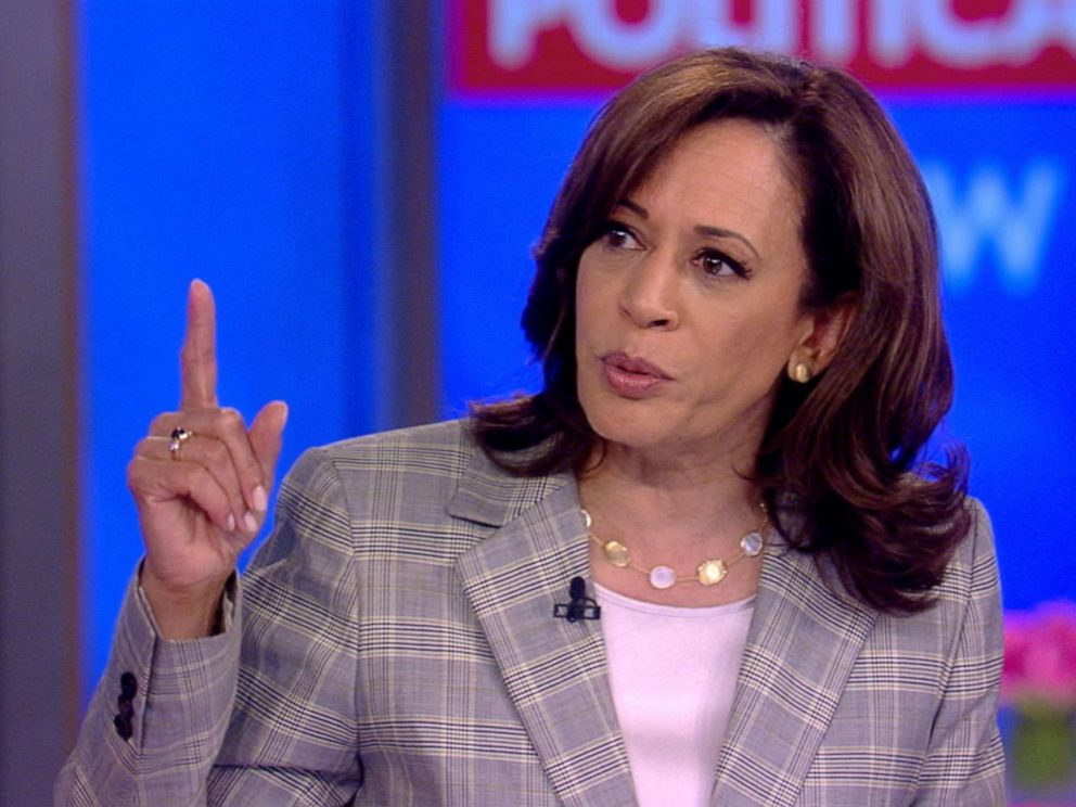 PHOTO: Democratic presidential candidate and Senator Kamala Harris, center right, makes an appearance on ABCs The View, July 12, 2019.