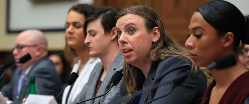 PHOTO: Army Staff Sgt. Patricia King, second from right, testifies before a House Armed Services Subcommittee on Military Personnel hearing on Capitol Hill, Feb. 27, 2019, as the Trump administration pushes to ban transgender service members.