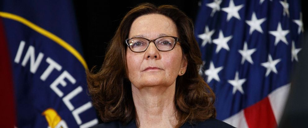 PHOTO: Incoming Central Intelligence Agency director Gina Haspel stands for the national anthem during her swearing-in ceremony at CIA Headquarters, May 21, 2018, in Langley, Va.