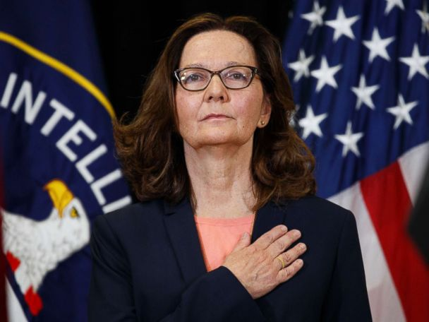 CIA Director Gina Haspel expresses a special thank you to two young girls
