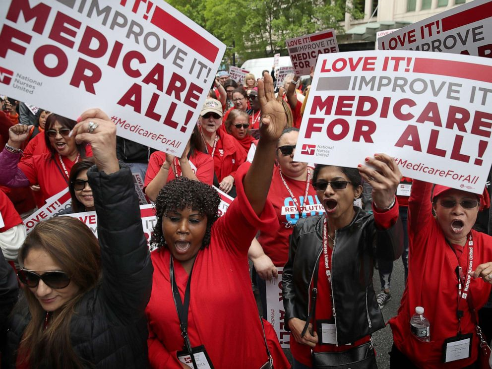 PHOTO: Protesters supporting Medicare for All hold a rally outside PhRMA headquarters April 29, 2019 in Washington, D.C.