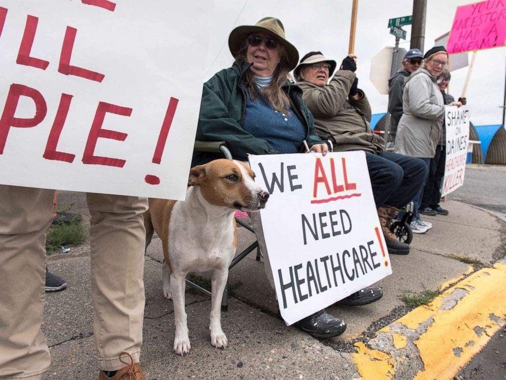 PHOTO: Protesters hold a small peaceful demonstration in support of health care on Sept. 23, 2017 in Livingston, Montana. The state of Montana expanded Medicaid under the Affordable Care Act.