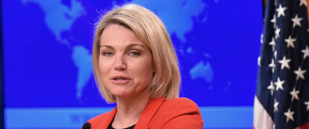 PHOTO: Heather Nauert speaks at the State Department in Washington, D.C., May 29, 2018.