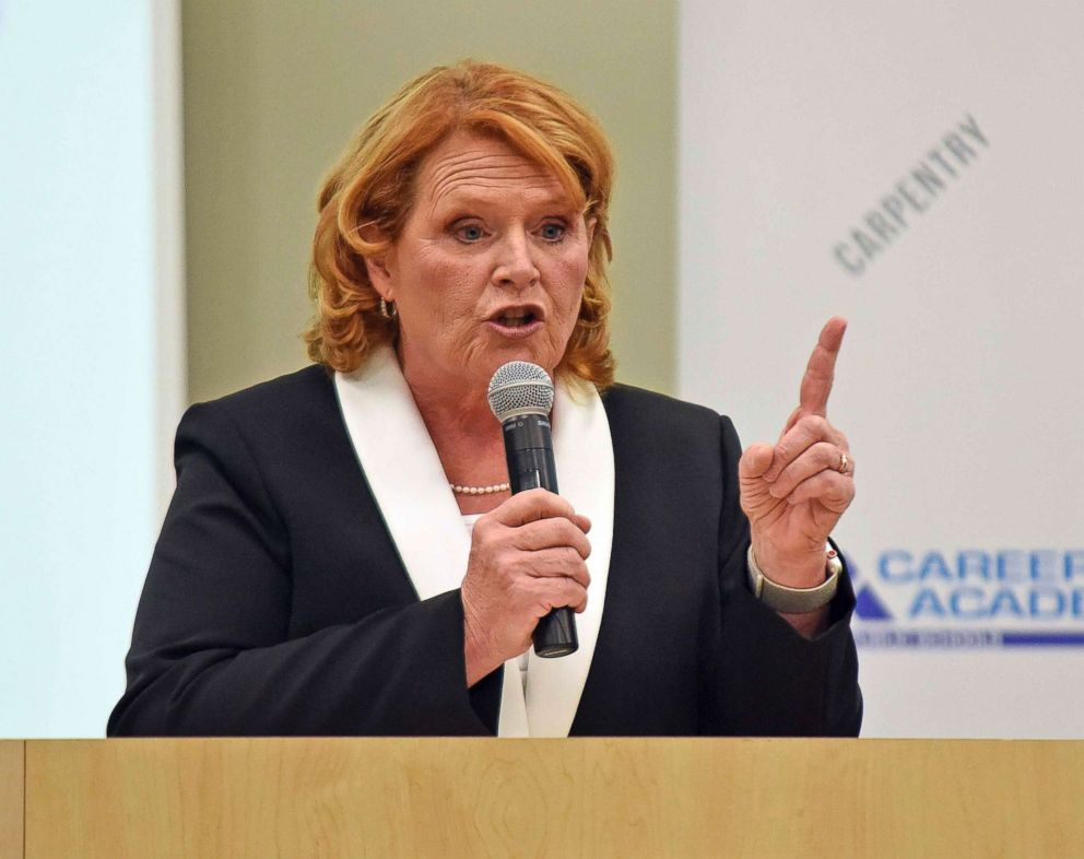 Sen. Heidi Heitkamp makes a point during a debate with Rep. Kevin Cramer, Oct. 18, 2018, in Bismarck, N.D.
