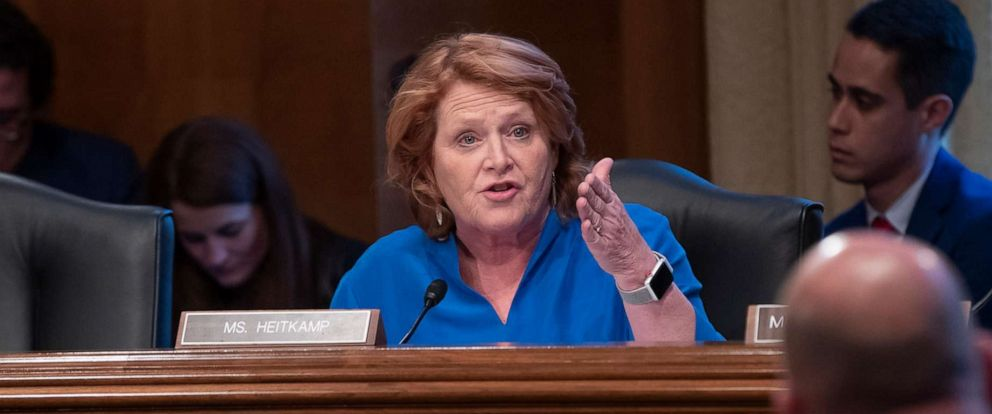PHOTO: Sen. Heidi Heitkamp talks to a panel of law enforcement officials during a hearing by the Senate Committee on Indian Affairs, on Capitol Hill in Washington, Dec. 12, 2018.