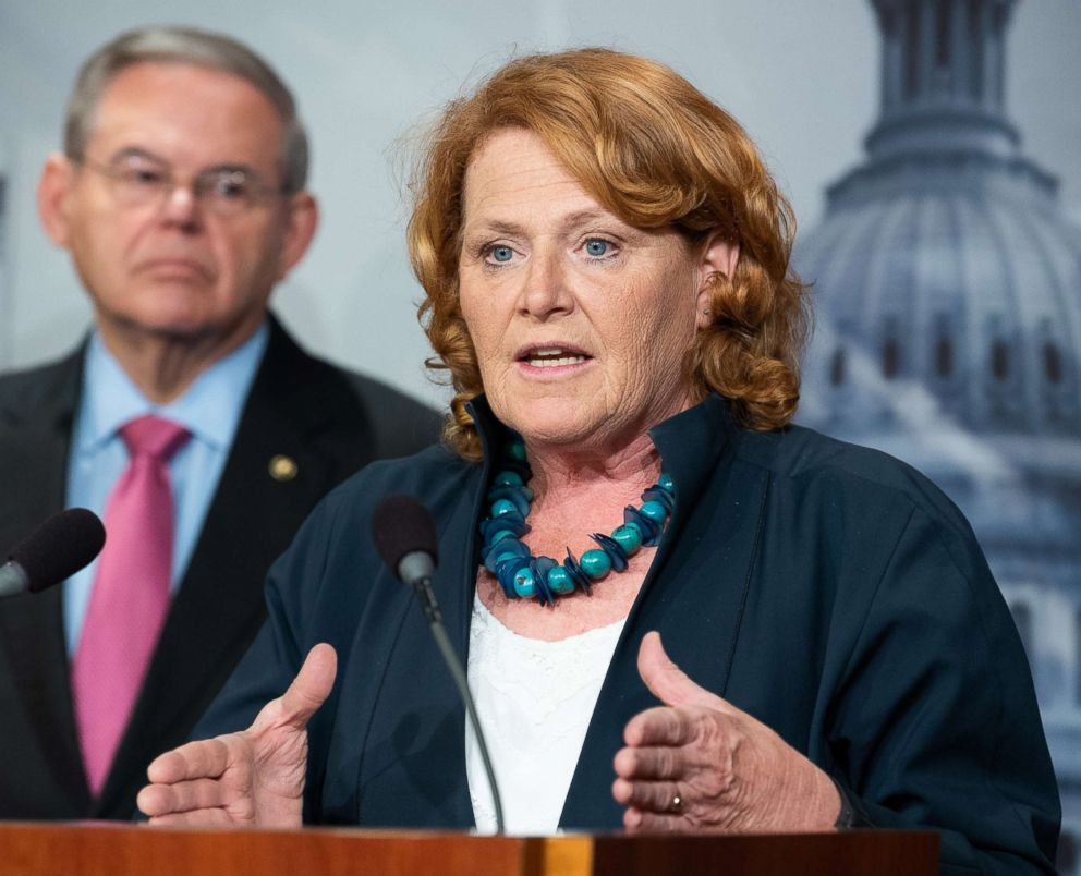 PHOTO: Sen. Heidi Heitkamp at a press conference about the proposed Central American Reform And Enforcement Act in the Capitol.