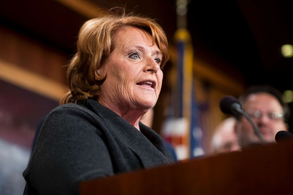 PHOTO: Sen. Heidi Heitkamp speaks during the Senate Democrats news conference on tax reform in the Capitol, Nov. 28, 2017.