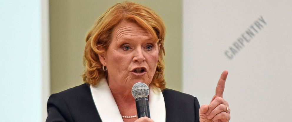 PHOTO: North Dakota Democratic U.S. Sen. Heidi Heitkamp makes a point in the U.S. Senate Candidate Debate with Republican U.S. Rep. Kevin Cramer on Thursday, Oct. 18, 2018, in Bismarck, N.D.