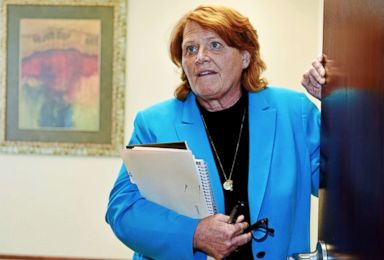 PHOTO: Senator Heidi Heitkamp talks to a reporter at Jamestown College, Jamestown, N.D., on April 6, 2018.